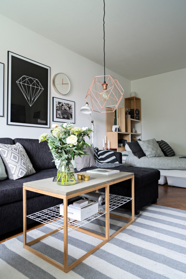 Вітальня і спальня в одній кімнаті: 120+ прикладів комфортного зонування